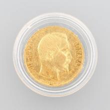 Gold coin 20 Francs 1852, Louis Napoleon Bonaparte,