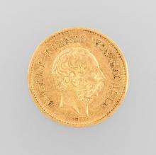 Gold coin, 5 Mark, Germany, 1877, Albert king of Saxony