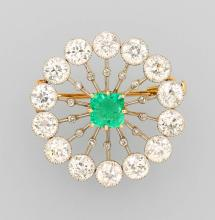 14 kt Gold and Platinu, brooch with emerald and diamonds