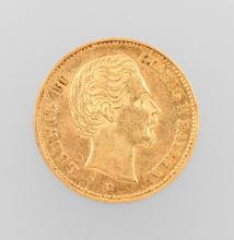 Gold coin, 5 Mark, Germany, 1877, Ludwig II.