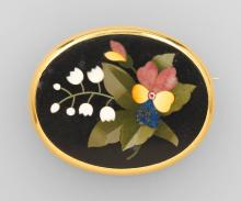 Brooch with Pietra Dura-inlay, ca. 1860/70