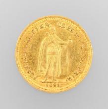 Gold coin, 10 kroner, Hungary, 1892, Franz Joseph I.