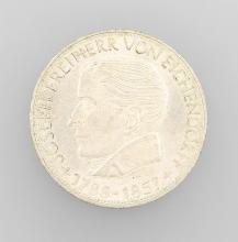 Silver coin, 5 Mark, Germany, 1957, Eichendorff