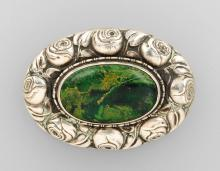 Silver brooch with green agate, german ca. 1920,