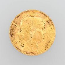 Gold coin, 20 Francs, France, 1908, Marianne