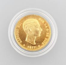 Gold coin, 25 Pesetas, Spain, 1877, Alfonso XII.