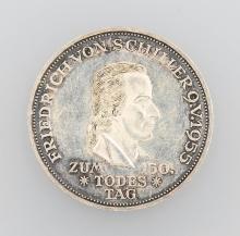 Silver coin, 5 Mark, Germany, 1955, Schiller