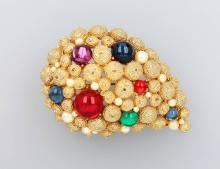 Costume jewelry brooch, ca. 1950s, metal gold plated