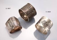 Lot 2 Art Nouveau napkin rings, Portugal ca. 1900s