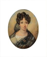 Rumeau, France, dated 1825, Portrait of a young woman,
