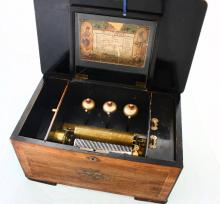Music box with chiming cylinder & 3 bells