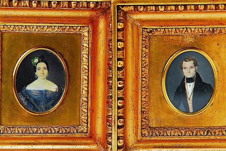 Paar Miniaturmalereien, deutsch, um 1830, Porträts