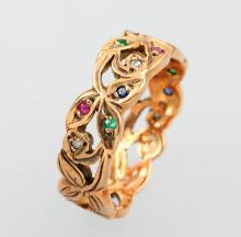 14 kt memory gold ring with coloured stones and diamonds, approx. 1910s