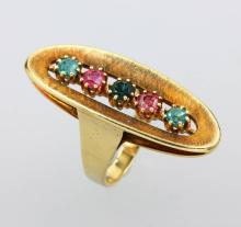 14 kt gold ring with tourmalines, german approx. 1930s