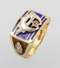 10 kt college gold ring with enamel