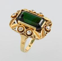 14 kt gold ring with tourmaline