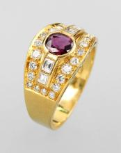Ring with rubies and diamonds, YG 375/000