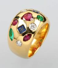 18 kt gold ring with coloured stones and diamonds