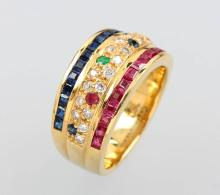 WEMPE 18 kt gold ring with coloured stones andbrilliants