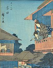 Ando Hiroshige, 1797-1858, two woodcuts, around 1840-50,