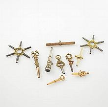 Set of 10 pocket watch keys, different production times