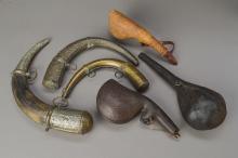 6 powder horns, Ottoman, 19th c. and 1900,