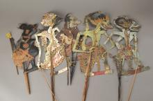 7 wayang figures, Indonesia, 20th century,