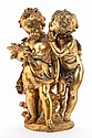 A FRENCH GILT BRONZE FIGURAL GROUP AFTER AUGUSTE MOREAU