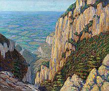 WALTER KING STONE (American, 1875-1949) Rocky Cliffs ov
