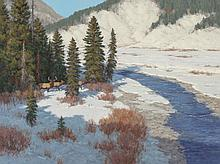 SCOTT YEAGER (American, b. 1965) Elk at the Crossing Oi