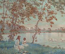 EDWARD DUFNER (American, 1871-1957) Summer Days, 1918 W