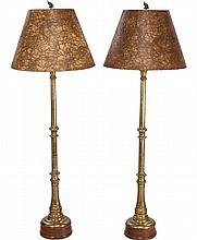 A PAIR OF CONTINENTAL BRASS TORCHÈRE FLOOR LAMPS, 19th