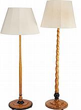 TWO BIEDERMEIER-STYLE SATINWOOD AND BIRCH FLOOR LAMPS,