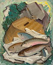 VICTOR HIGGINS (American, 1884-1949) Trout and Creel Oi