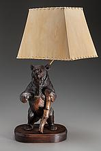 A BLACK FOREST CARVED WOOD BEAR LAMP WITH SHADE, 20th c