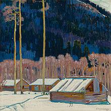 ERNEST MARTIN HENNINGS (American, 1886-1956) Cabins in