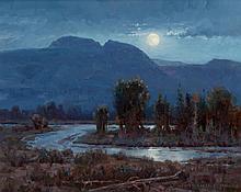 JIM WILCOX (American, b. 1941) Moonlit Sleeping Indian