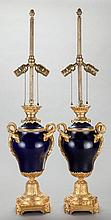 A PAIR OF COBALT BLUE PORCELAIN AND GILT BRONZE MOUNTED