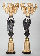 A PAIR OF NEOCLASSICAL-STYLE GILT AND PATINATED BRONZE