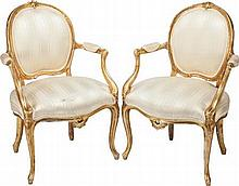 A PAIR OF LOUIS XV-STYLE GILT WOOD UPHOLSTERED FAUTEUIL