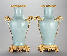 A PAIR OF CHINESE CELADON PORCELAIN AND GILT BRONZE MOU