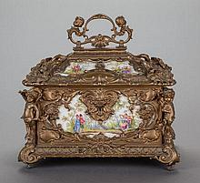 A LOUIS XV-STYLE GILT BRONZE AND PAINTED PORCELAIN TABL