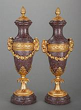 A PAIR OF LOUIS XVI-STYLE ROUGE MARBLE AND GILT BRONZE
