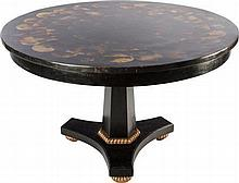 A DIRECTOIRE-STYLE EBONIZED AND PARCEL GILT HORN VENEER