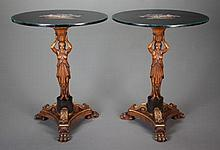 A PAIR OF DIRECTOIRE-STYLE CARVED WALNUT AND PARCEL GIL