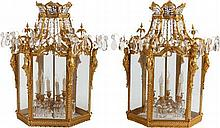 A PAIR OF GILT BRONZE AND CUT GLASS SIX-LIGHT LANTERNS,