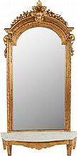 A LOUIS XVI-STYLE GILT WOOD MIRROR, circa 1900 94 inche