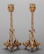 A PAIR OF GILT BRONZE FIGURAL CANDLESTICKS, 20th centur