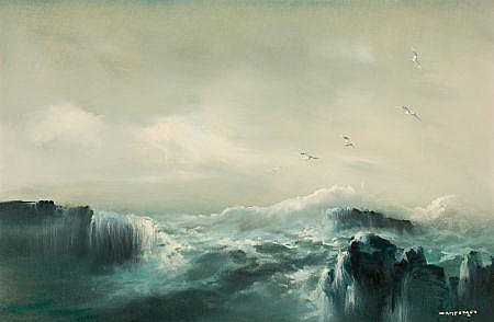 JOSE LUIS CAMPUZANO (Spanish, 20th Century) Seascape wi