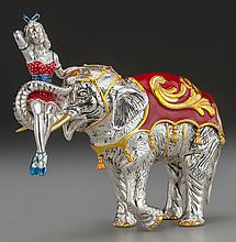 A TIFFANY & CO. SILVER AND ENAMEL CIRCUS ELEPHANT AND P